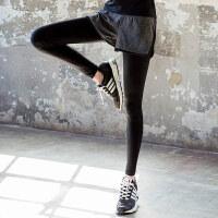 假两件弹力紧身运动裤跑步大码瑜伽压缩健身速干长裤女夏薄 爱心假两件