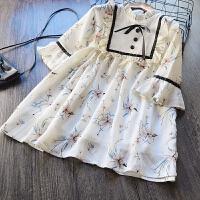 韩国童装女童雪纺连衣裙2018春装新款儿童韩版喇叭七分袖公主裙