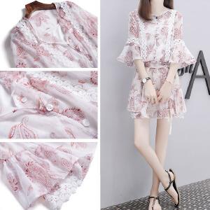 【班图诗妮】2018夏季新款韩版网红两件套装印花雪纺上衣时尚短裙裤