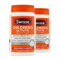 澳洲直邮/保税区发货 Swisse/瑞思 小孩儿童复合维生素矿物质咀嚼片多种维生素 120片*2瓶 海外购