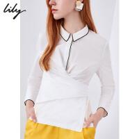 Lily春新款女装舒适全棉通勤后系带修身长袖衬衫118300C4631