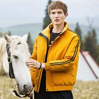 骆驼男装立领羽绒服男短款宽松面包服帅气潮牌秋冬防寒运动风外套