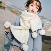 时尚新款围巾女冬季可爱少女韩版百搭学生白色针织粗毛线冬天围脖