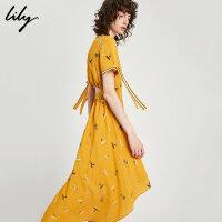 【6/4-6/8 一口价:169元】 Lily春夏女装后镂空不规则收腰印花连衣裙118219C7903