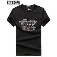 吉普Jeep2018夏装新款短袖T恤男时尚潮男字母图案打底衫薄款棉质半袖t恤短t男