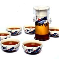 尚帝 陶瓷功夫茶具 茶具套装 耐热玻璃红茶茶具 青花瓷内胆 荷为贵7件套 DT76VV12