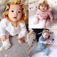 蓓莱乐婴儿衣服装0岁6个月3宝宝长袖套装新生儿童冬装两件套新年