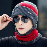 帽子男冬天时尚韩版男士针织加绒加厚毛线秋冬套头百搭男士冬季保暖帽