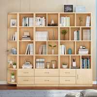 【满减优惠】实木书架书柜自由组合现代书橱落地置物架儿童经济型简约储物松木