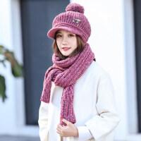 女士帽子时尚潮百搭甜美可爱针织毛线帽子围巾两件套