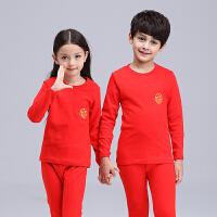 儿童秋衣秋裤套装纯棉女中大童全棉男孩睡衣本命年男大童红色内衣