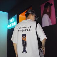 夏季日系短袖T恤男士韩版潮流卡通印花打底衫宽松圆领体恤青少年