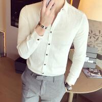 发型师衬衫男白色打底衬衣韩版修身春季青年时尚英伦长袖寸衫纯色