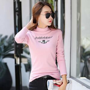修身韩版棉印花时尚印花打底外穿女士长袖t恤衫