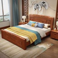 实木床双人储物高箱床雕花仿仿古中式床1.5米1.8米床主卧床 1500mm*2000mm 气压结构