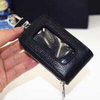 无车标通用型透明按键天窗版内外全皮真皮汽车钥匙包遥控器保护套 黑色
