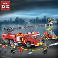一号玩具 启蒙乐高式积木拼装玩具消防车模型6-12岁男孩拼插积木儿童玩具消防总局