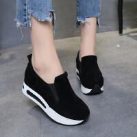 韩版潮搭套脚绒面内增高女休闲运动低帮鞋松糕厚底乐福鞋女