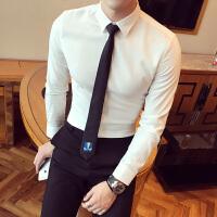新款长袖衬衫男士修身纯色衬衣英伦风白色职业工装衬衫男