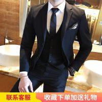 潮流男士西服套装青年韩版修身小西装三件套英伦休闲新郎结婚礼服