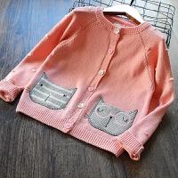童装女童针织衫开衫2018春季新款儿童韩版短款毛衣宝宝外套