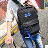 男士双肩包韩版简约高中大学生书包男时尚潮流校园帆布背包电脑包