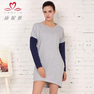 康妮雅秋季新款连衣裙 女士长袖撞色拼接短裙 中厚款