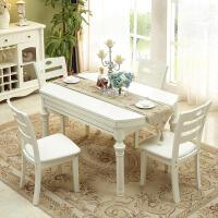 白色实木伸缩多功能餐桌大理石桌面现代简约餐桌椅组合小户型 一桌六椅 (大理石桌面)1.38米 组装