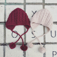 宝宝帽子秋冬季1-2岁韩版女童儿童针织婴儿毛线帽6-12个月3
