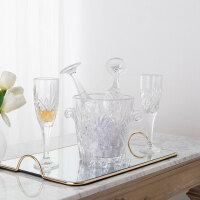 奇居良品 现代简约客厅餐厅家居摆件 米娜透明玻璃红酒杯冰桶5件套