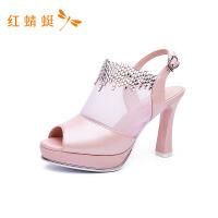 【专柜正品】红蜻蜓女鞋2018夏季新款头层牛皮性感网面高跟水钻女凉鞋