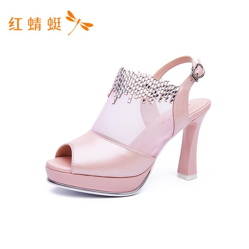 红蜻蜓女鞋2018夏季新款头层牛皮性感网面高跟水钻女凉鞋