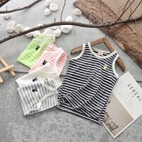 夏季儿童装纯棉背心男童女童轻薄透气工字型宝宝小孩条纹无袖吊带