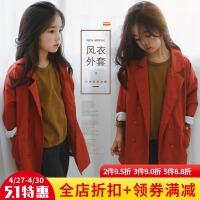 女童风衣2017秋季新款韩版中大童儿童纯棉中长款外套女孩休闲开衫
