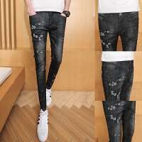 韩国时尚个性刺绣青年长裤子男士春装新款潮流修身韩版小脚牛仔裤