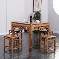 全实木中式餐桌椅组合八仙桌四方桌子家用小方桌饭店餐桌明清古典 铜钱桌配八铜钱方凳 运费到付 一桌六椅 其他结构