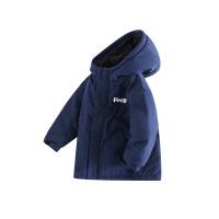 小猪班纳童装男童连帽棉服2020冬季新款宝宝外套卡其色儿童拉链衫