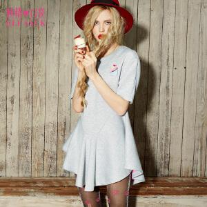 妖精的口袋玫瑰捷径春秋装欧美甜美收腰短袖荷叶边连衣裙女短裙子