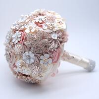 新娘手捧花仿真中式水钻皇冠送新郎的结婚礼物拍婚纱花球