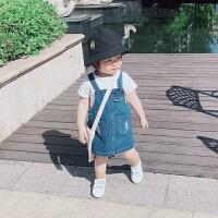 女宝宝背带牛仔短裙春秋装薄款软牛仔连衣裙子夏小童婴儿洋气