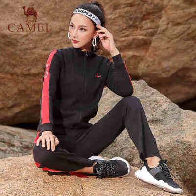camel骆驼新款运动服套装女春秋季长袖外套跑步服两件套休闲健身服
