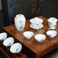 尚帝 精品出水荷花9件套含茶叶罐 整套功夫茶具套装 特价陶瓷S-2014WHGF47D