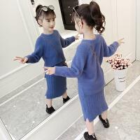 儿童装韩版中大童加厚洋气针织衫女童冬装水貂绒毛衣套装