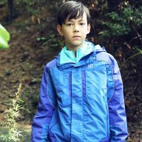 探路者童装 男童拼色三合一套羽绒冲锋衣 儿童户外运动服