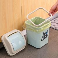 []物有物语 垃圾桶 新款家用桌面摇盖垃圾筒多用带盖塑料废纸篓客厅卫生间厨房创意收纳盒