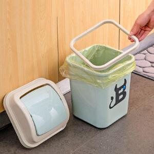 物有物语 垃圾桶 新款家用桌面摇盖垃圾筒多用带盖塑料废纸篓客厅卫生间厨房创意收纳盒