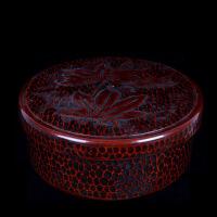 """日本昭和时期手工锤木纹""""枫叶""""茶点茶具盒"""