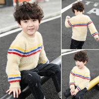儿童半高领水貂绒宝宝加绒加厚潮童装男童毛衣套头秋冬款