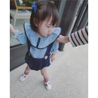 女童背带裤17春装新款韩版婴幼儿童装南瓜裤连体裤可拆卸短裤子潮