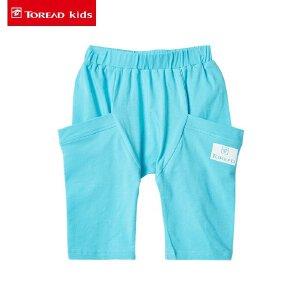 探路者童装 儿童裤子2017夏季新款男女童中腰休闲针织七分裤短裤
